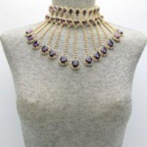 Crystal Fringe Purple Choker Necklace Set